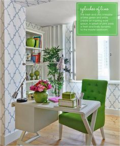 #Green accents in a #Home #Office #Interior #Design #Furniture