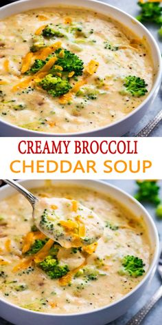 This Creamy Broccoli Cheddar Soup is filled with mouth watering tastes, yet uses regular ingredients and is ready in only 30 minutes. Broccoli Soup Recipes, Fall Soup Recipes, Healthy Soup Recipes, Vegetarian Recipes, Dinner Recipes, Cooking Recipes, Easy Broccoli Soup, Homemade Broccoli Soup Recipe, Lunches