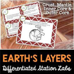 Earth's Layers station lab.  Each station is student led and differentiated for different learning styles.