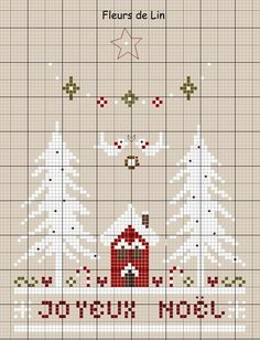 JOYEUX NOËL !!! Cross Stitch House, Xmas Cross Stitch, Cross Stitch Charts, Cross Stitching, Cross Stitch Embroidery, Embroidery Patterns, Cross Stitch Patterns, Cross Stitch Freebies, Theme Noel