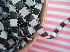 Black and White Checked Ribbon-ribbon, trim, black, white, check, checked, sewing, embellishment, supplies, crafts, gift wrapping