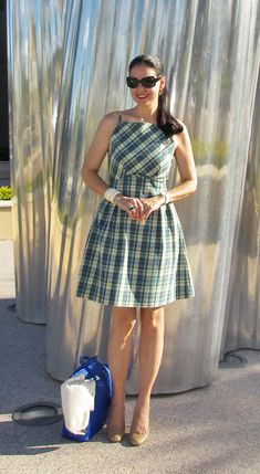 Green & Blue  Plaid Cotton 50s Style Dress; Kate Spade, Karolina Patent Leather Shoes; Antique Ivory Cuffs; Baccarat Crystal Ring; Burberry Green Sunglasses; Innue Pierced Leather Bag.   http://www.akeytothearmoire.com/post/19623512188/pot-of-silver