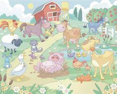 Baby Fun On The Farm Wall Mural
