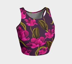 These unique, fashion forward, artistic crop tops are great for work outs, yoga, swimming or hanging with your friends. Made from 88% polyester and 12% spandex, the super stretchy fabric will never lose its shape  and vibrant custom print will never fade even after multiple wearings and washings.  The performance fabric moves with you, is naturally quick dry and wicks moisture away as you workout. Manufactured in Canada