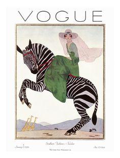 Vogue Cover - January 1926 - Zebra Safari Regular Giclee Print at AllPosters.com