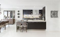 all dark kitchens white bench and white tiles