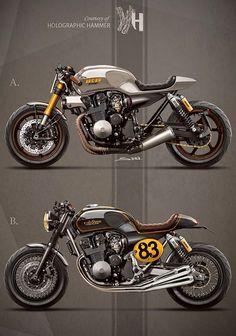 Racing Cafè: Cafè Racer Concepts - Honda CB 750 1992 by Holographic Hammer Cb 750 Cafe Racer, Cafe Racer Honda, Cafe Racer Style, Cafe Bike, Custom Cafe Racer, Cafe Racer Build, Cafe Racer Motorcycle, Moto Bike, Motorcycle Memes