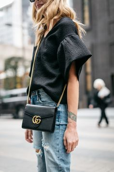 Spring Outfit, Black Ruffle Sleeve Top, Gucci Marmont Handbag, Mom Jeans