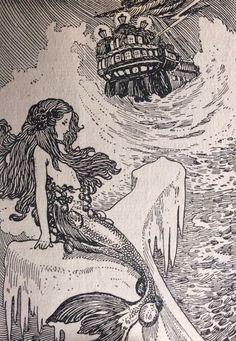 mermaid fisherman black white prints vintage - Google Search