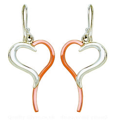 Tianguis Jackson Copper and Silver Heart Drop Earrings
