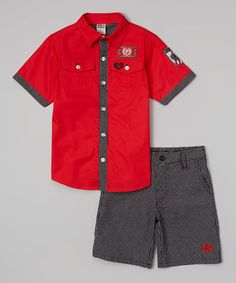 This Red Button-Up & Gingham Shorts - Infant, Toddler & Boys