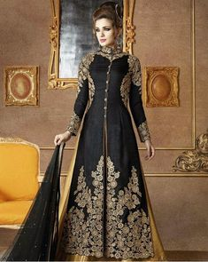 Black Pakistani lehenga style salwar kameez in Art silk Indowestern Lehenga, Long Choli Lehenga, Pakistani Lehenga, Lehenga Suit, Lehenga Style, Party Wear Lehenga, Lehenga Choli Online, Silk Lehenga, Anarkali Suits