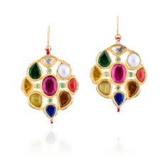 gold geometric earrings with multicolored semi and precious stones. Jewels, Drop Earrings, Bridal Fashion, Christmas Ornaments, Holiday Decor, Artwork, Gold, Stones, India
