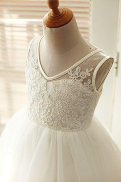 V Back Lace Tulle Flower Girl Dress/TUTU Princess Kids Girl Dress/Junior Bridesmaid Dress for Wedding - Thumbnail 1