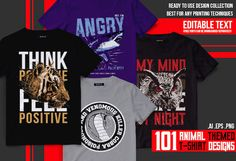 ca5c9c0ac 101 Animal T-shirt Designs this bundle contains 101 t-shirt designs,  editable text and color, tshirt png also included, high quality T-shirt  Design bundle
