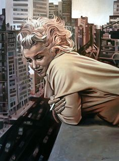 A painting by Laurent Smael of Marilyn Monroe leaning over a rooftop