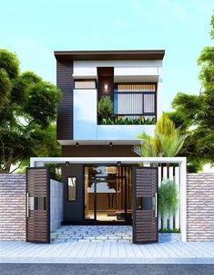 Exterior architecture house dream homes Ideas Narrow House Designs, Small House Design, Exterior Siding Options, Thai House, Compact House, Loft House, House Elevation, Japanese House, Home Fashion
