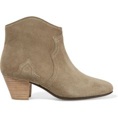 Isabel Marant Étoile The Dicker suede ankle boots (€400) ❤ liked on Polyvore featuring shoes, boots, ankle booties, army green, zipper boots, bootie boots, suede bootie, olive green suede booties and olive suede boots