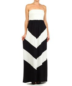Love this Black & White Chevron Strapless Maxi Dress - Plus by J-Mode USA Los Angeles on #zulily! #zulilyfinds