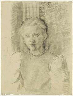 Thérèse Schwartze (Dutch painter) 1851 - 1918 Portret van een Jong Meisje, s.d. drawing on paper 62 x 48 cm. Rijksmuseum Amsterdam, Amsterdam, The Netherlands