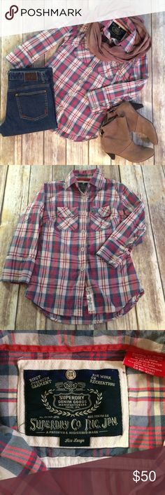 SUPERDRY Plaid Button Up Flannel Shirt SUPERDRY Plaid Button Up Flannel Shirt. A purposely weathered look in red, tan, cream, and bluish gray. 100% heavyweight cotton. 3/4 sleeves can be rolled and cuffed to hit about the elbow. Size reads large but best suited for S-M depending on how you loose you like. EUC and quality made to last. Measurements to be added soon. Offers welcome! Superdry Tops Button Down Shirts