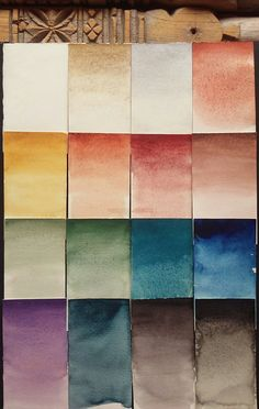 A Watercolor Chart of Handmade Ochres. Some of the #ochres are mixed for enhancement. One the micaceous copper is made with copper and a pale red ochre. A friday throw back to my first creative endeavor in what I called 'The Ochre Gem Mineral...