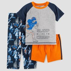 Toddler Boys' 3pc Sleep Like a Champ Pajama Set - Just One You Made by Carter's Gray 4T