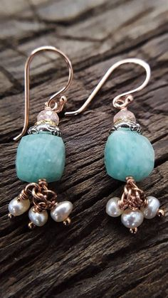 Amazonite And Rose Gold Earrings Real Amazonite Real Pink