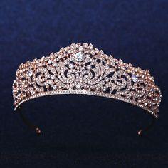 Rose Gold CLEAR AUSTRIAN RHIESTONE CRYSTAL HAIR TIARA CROWN BRIDAL WEDDING PARTY