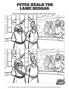 Acts 3 Peter Heals the Lame Man Kids Spot The Difference: Can your kids spot all the differences between these two Peter heals the lame man illustrations? With the kind of creative fun your kids love, this Acts 3 activity page makes a great compliment to your upcoming Peter heals the lame man Sunday school lesson.