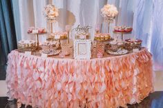 The sweetest dessert table by DCFL Events // Venue: Event Coodinator/Stylist: Cake Stands: Chivari Chairs: Cinematography: Dessert Bar: Florals: Photography: Rentals: Signage: Speciality Linens: Gold Dessert, Dessert Bar Wedding, Dessert Stand, Wedding Cake Stands, Wedding Desserts, Wedding Cupcakes, Dessert Tables, Gold Wedding, Elegant Wedding