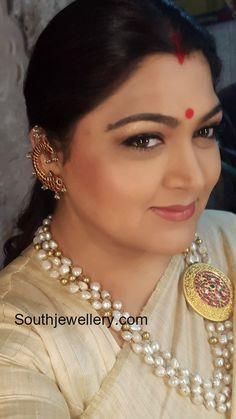 Khushbu Sundar in three line pearls mala featuring ruby side pendant and fish earrings studded with rubies. Ear Jewelry, Emerald Jewelry, India Jewelry, Bead Jewellery, Gemstone Jewelry, Wedding Jewelry, Gold Jewelry, Beaded Jewelry, Jewelery