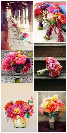Colourful wedding flowers - don't forget to keep them seasonal Bright Wedding Colors, Bright Flowers, Bright Colors, Pink Bouquet, Bride Bouquets, Wedding Trends, Floral Wedding, Wedding Flowers, Wedding Bells