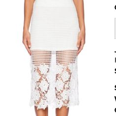 NWT J.O.A. Floral white lace skirt small Brand new! J.o.a. Skirts Pencil