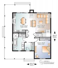 Plan De Rez De Chaussée Maison De Style Fermette, Farmhouse Américaine, 3
