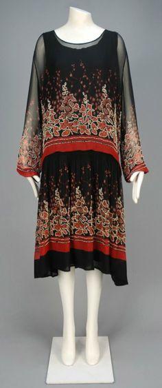 Printed and Beaded Chiffon Day Dress, 1920s.