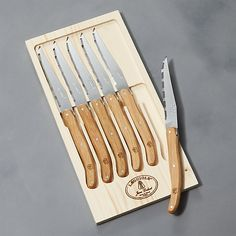 Laguiole ® Oak Steak Knives, Set of 6 at Crate and Barrel Canada. Discover unique furniture and decor from across the globe to create a look you love. Kitchen Cutlery, Kitchen Knives, Unique Furniture, Custom Furniture, Steak Knife Set, Wood Storage Box, Best Pocket Knife, Steak Knives, Chef Knife