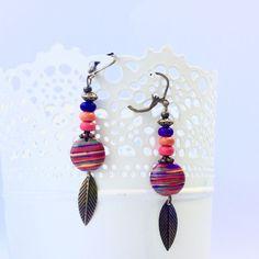 Boucles d oreilles pendantes esprit ethnique bohème perle multicolore et bronze