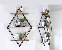 Diamond Book Shelf, Open Shelving, Open Shelves, Diamond Framed Shelf, Diamond Bookcase, Fixer Upper Style, Steel and Wood, Steel and Metal, Geometric, Modern, Home Decor, Mid Century Modern, House, Wall Hanging, Wall Decor, available on Etsy #BooksShelf