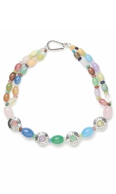 Double-Strand Bracelet with Assorted Gemstone Beads and Sterling Silver Beads