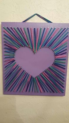 String Art Murals ~ Three hearts {I love you} - PintoPin String Art Heart, Nail String Art, String Crafts, Yarn Crafts, String Art Templates, String Art Tutorials, String Art Patterns, Sleepover Crafts, Pin Art
