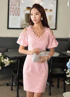 Pink Flare Sleeve Flower Pedal Collar Designer Dress - SoFashioning.com