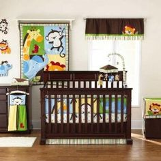 Jungle Jubilee 9 Piece Baby Crib Bedding Set by Too Good by Jenny, (baby, baby bedding, crib set, baby crib bedding, crib bedding, bedding sets, nursery bedding, baby beddig, baby boy, baby boy bedding)