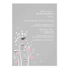 I love this Pink and Gray Winter Snow Baby Shower Invitation for a girl baby shower.  It's cute in a chic sophisticated way.  Simple, yet simply fantastic.