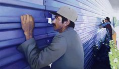 Akos Birkas, The Blue Fence, Oil on canvas, 140 x 240 cm Blue Fence, Whitney Museum, Lisa S, Land Art, Zine, American Art, Oil On Canvas, Sculpture, David