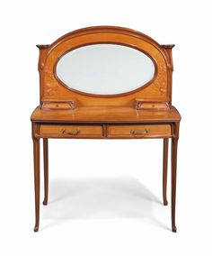 AN ART NOUVEAU (but almost 18th century) WALNUT AND SATINWOOD DRESSING TABLE - CIRCA 1900