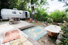 1979 Airstream Argosy for rent in a beautiful backyard on AirBnB