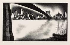 LOUIS LOZOWICK  Distant Manhattan from Brooklyn.   Lithograph, 193