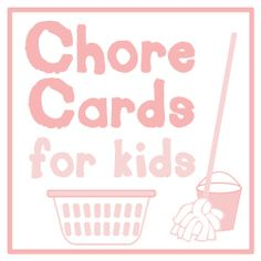"""Printable chore cards for kids. Includes a """"Freebie"""" no chores day card and a """"Mom's Choice"""" card. Very interesting method to getting kids involved at home. Do you expect chores from your kids? Is it tied to financial reimbursement or just part of family life?"""