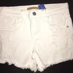 New Rebecca Minkoff Distressed White Denim Shorts These shorts are distressed as shown in the pictures. These are new and have never been worn. Rebecca Minkoff Shorts Jean Shorts